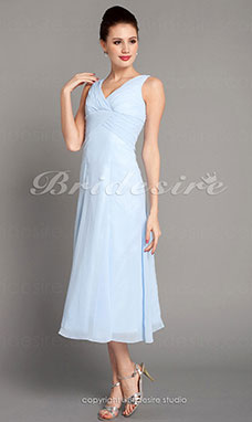 Trapèze Longueur genou Mousseline polyester Col en V Bridesmaid/ Wedding Party Robe With Criss-Cross Bodice