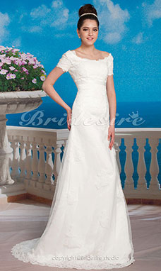 Trapèze Empire Sweep/ Brush Train Organza Over Satin Col U profond Robe de Mariage