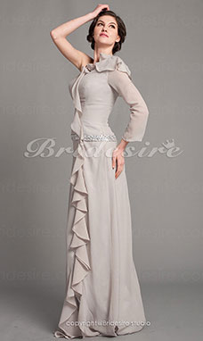 Fourreau Satin Stretch et Mousseline polyester Longueur ras du sol Épaule asymétrique Mother Of The Bride Robe