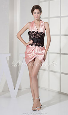 Fourreau Dos nu Court/Mini Sans manches Satin Stretch Dentelle Robe