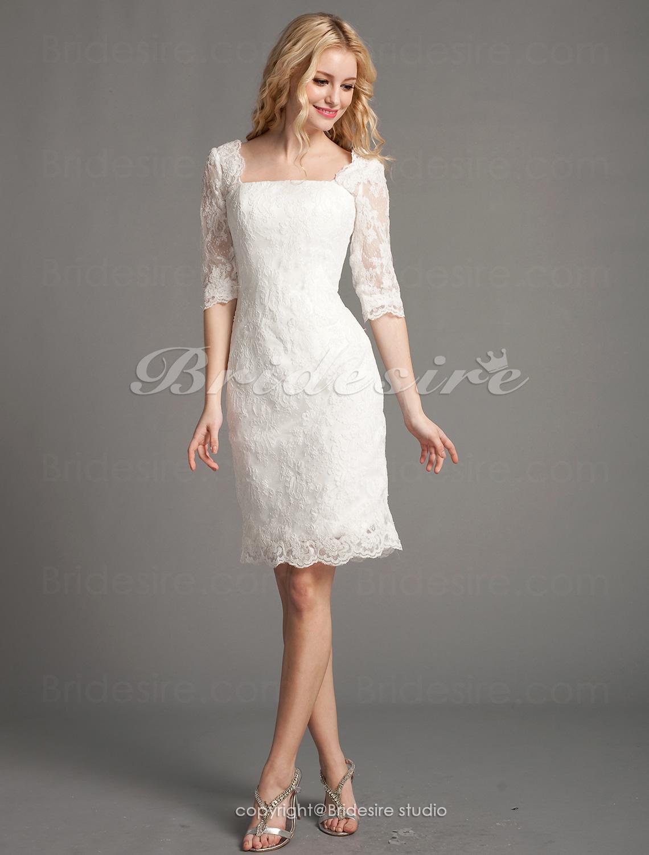 07774ebd4bc6e Bridesire - Fourreau Dentelle Court Mini Col carré Robe de Mariée  488364   - €119.77   Bridesire
