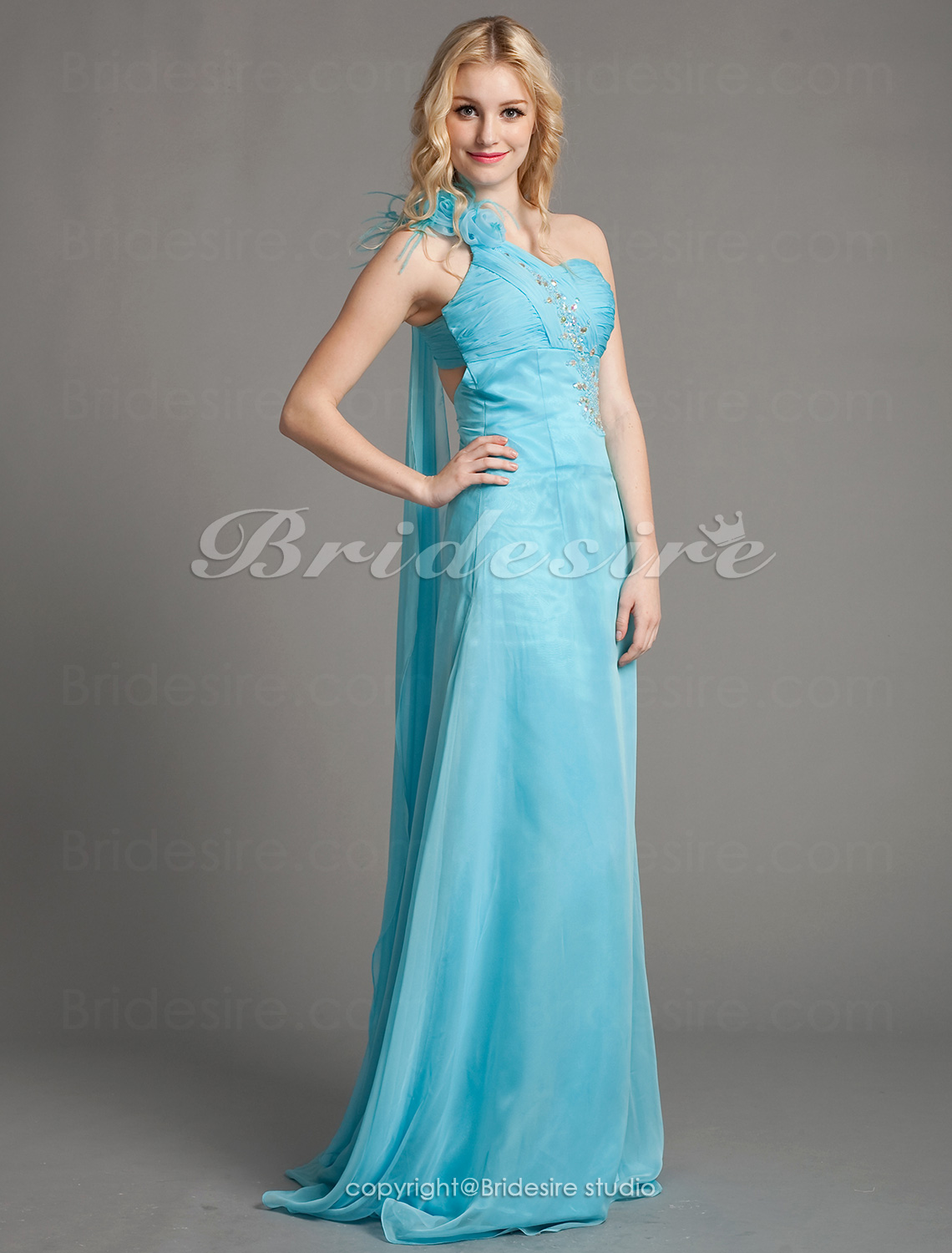 Sheath/Column Cheap One Shoulder Sweetheart Chiffon Floor-length