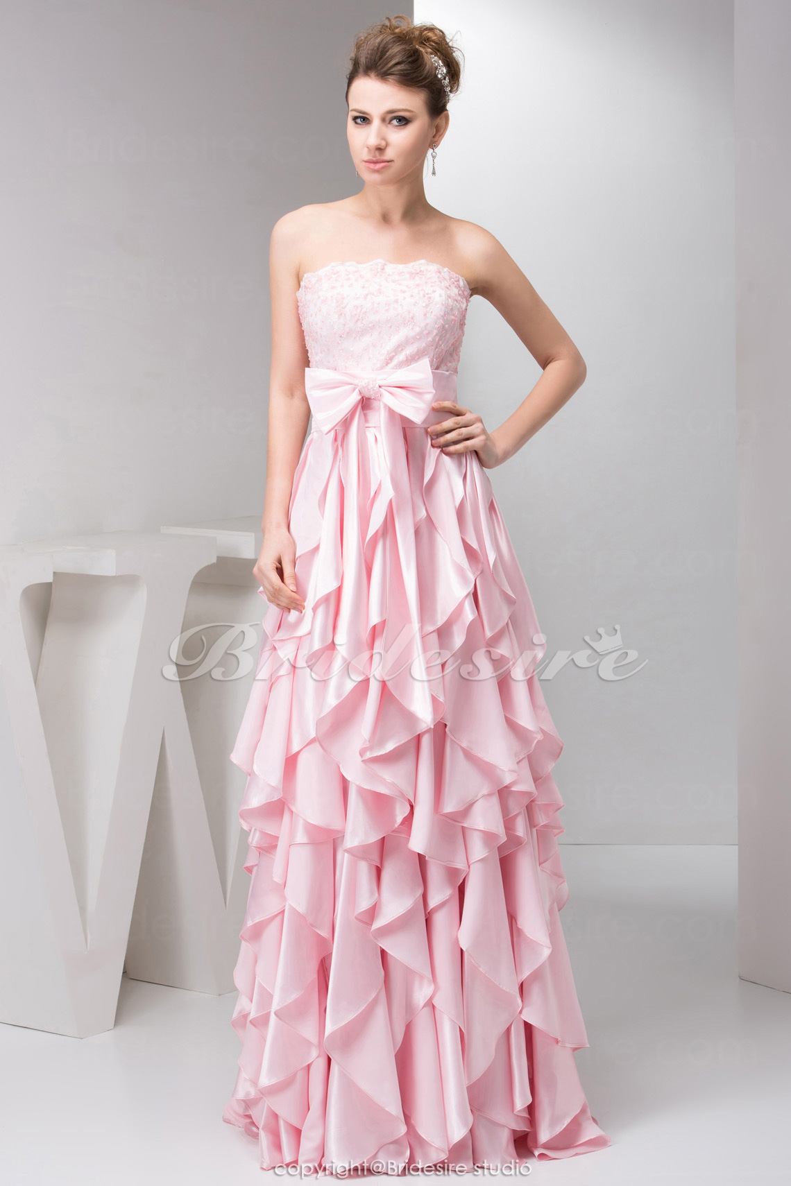 Sheath/Column Strapless Floor-length Sleeveless Stretch Satin Dr