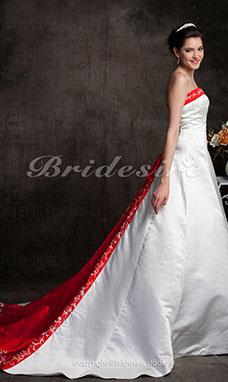 b8bbf4c47f8 Trapèze Traîne mi-longue Sans bretelles Robe de Mariée