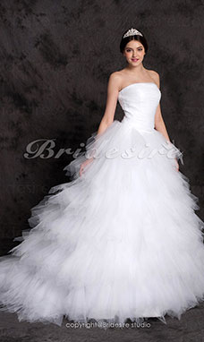 Robe de bal Sweep/ Brush Train Gradins Tulle Over Satin
