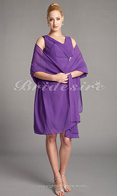 Fourreau Mousseline polyester Longueur genou Col en V Mother Of The Bride Robe With A Wrap