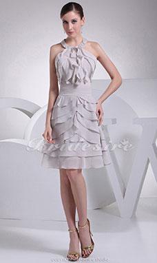 f2b4e1839a268 Trapèze Dos nu Longueur genou Sans manches Mousseline polyester Robe