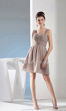 3712f953903c8 Trapèze Col en cœur Longueur genou Sans manches Mousseline polyester Robe