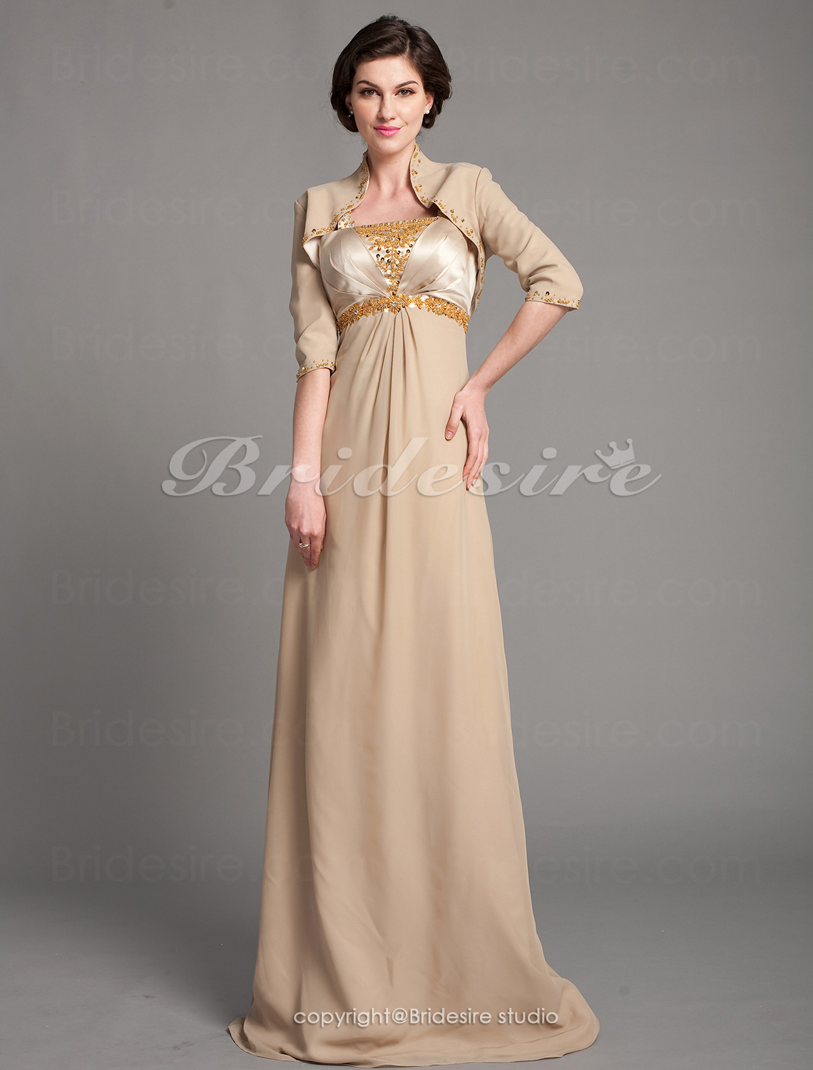 Fourreau Satin Stretch et Mousseline polyester Longueur ras du sol Mother Of The Bride Robe With A Wrap