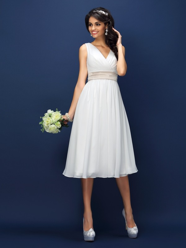 A-line V-neck Sleeveless Chiffon Dress